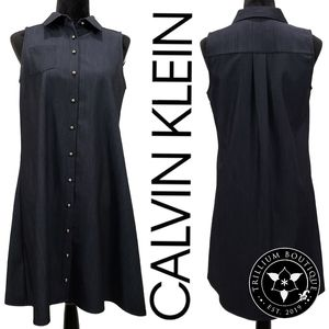 Calvin Klein Denim Style Button Dress 6